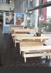 間伐材を使用したテーブル・ベンチ